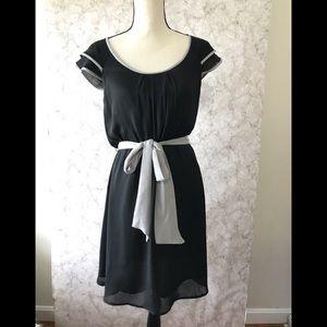 Loft black dress with gray trim